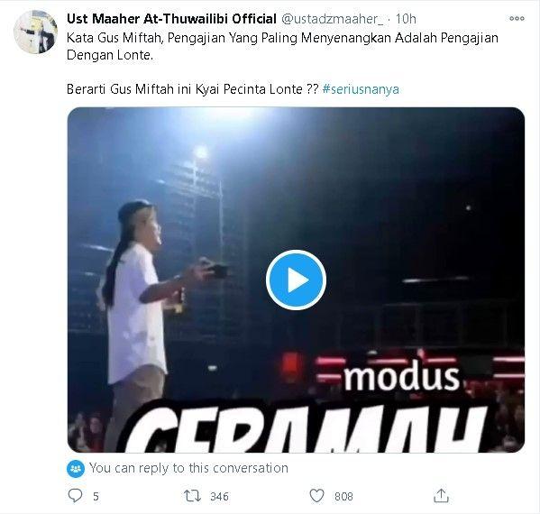Ustaz Maaher Serang Gus Miftah: Gus Ini Kiai Pecinta L0ntE?